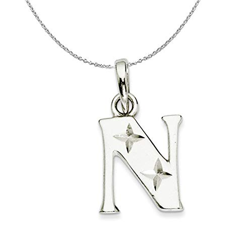 Black Bow Jewellery Company Silver, Sabrina Collection, D/C Block Initial N Necklace - 24 In