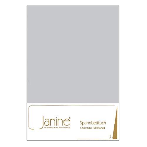 Janine Design Chinchilla Edelflanell Spannbetttuch Silber, 90x190 cm - 100x200 cm