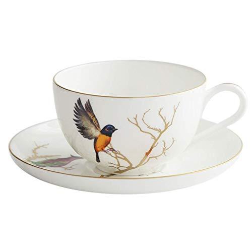 HIGHKAS Tazas Té de la Tarde británico Juego de Taza y platillo de café de Porcelana China Taza de té Negro Europeo Taza de café y platillo de cerámica Retro Pastoral para el hogar Taza de café