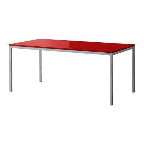 IKEA Tischplatte TORSBY Tisch in Hochglanz ROT mit Untergestell aus verchromten Stahl - 180x85 cm
