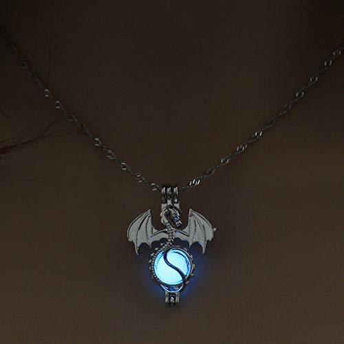 QUWE Stone Necklace,Elegant Blue Luminous Flying Dragon Pendant Silver Long Chain Men Women Energy Balance Birthstone Gem Jewelry Gifts
