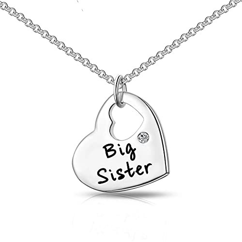 Philip Jones Big Sister Heart Necklace Created with Austrian Crystals