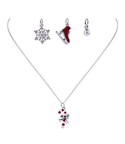 SIX Damen Halskette, Weihnachten, Anhänger, Gliederkette, Schlittschuh, Schneeflocke, Perle, Zuckerstange, 5er Set, Charms, rot, Silber (779-083)
