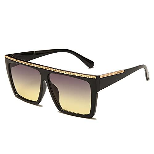 JINZUN Gafas de Sol cuadradas de Moda Gafas de Sol de Tendencia de Montura Grande Anti-UV Sombrilla Espejo Unisex C5