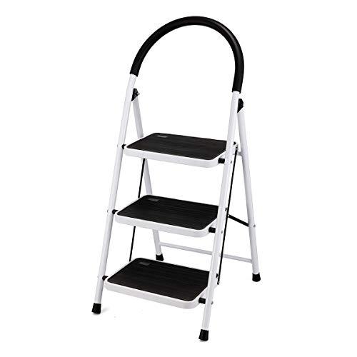 KINGSO 3 Step Ladder Folding Step Stool with Steel Wide Anti-Slip Pedal and Handgrip Anti-Slip, Lightweight 350lbs Portable Steel Step Stool, (500lbs Capacity)