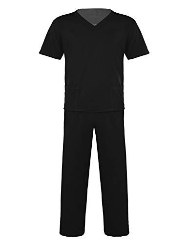 TiaoBug Uniforme Sanitario Conjunto Elástico Traje Uniforme de Trabajo Casaca Pantalon Unisex Disfraz Médico Laboratorio Enfermera Cirugía Hombres Mujeres Negro XXXL