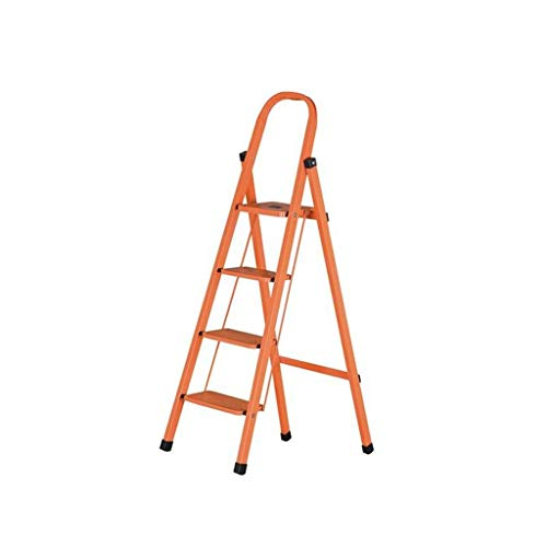 Bouwbenodigdheden Techniek 4 Step Ladder, Eethuis Magazijn Trappen/Kleur: Oranje Metal Iron Ladder/for Outdoor Klimmen Fotografie Bespaar ruimte (Color : Orange, Size : 41 * 74 * 133cm)