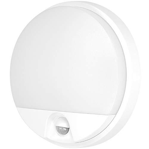 ORNO Agat Lámpara de Pared con Sensor de Movimiento y Sensor Crepuscular 800lm/1200lm 4000K, IP54 Resistente al Agua, Blanco 10/15W (10)