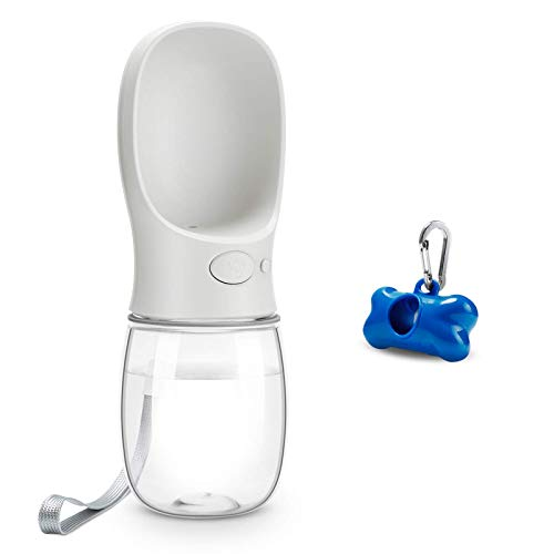 Toozey Hunde Wasserflasche, 350ml Tragbare Haustier Trinkflasche mit Hundekotbeutel, Beutelspender und Karabiner, BPA Frei Hunde Katzen Flasche, Ideal für Unterwegs, Reise und Wandern, Rosa