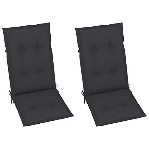 vidaXL 2X Gartenstuhl Auflage für Hochlehner Kissen Sitzkissen Stuhlkissen Polster Stuhlauflage Sitzauflagen Sitzpolster Anthrazit 120x50x7cm