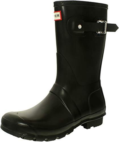 HUNTER Womens Original Short Rain Boot Black Matte 9