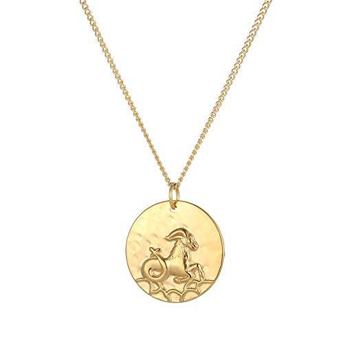 Tribal Spirit Damen Kette Anhänger Steinbock Capricorn Sternzeichen Tierkreiszeichen Edelstahl Silber Gold Farbe Gold