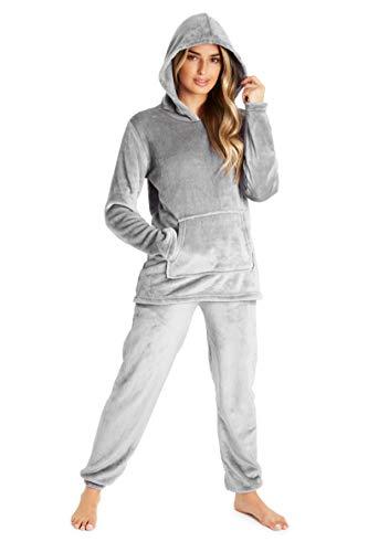 CityComfort Schlafanzug Für Damen, 2-Set Pyjama Mit Lange Oberteile Und Hosen, Polar Fleece Hausanzug, Kuschelige Und Warmes Flanell Nachtwasche, PjS Für Frauen, Geschenke Für Damen (M, Dunkelgrau)