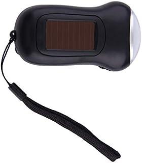 Plástico ABS Mini Manivela Portátil Dynamo 3 LED Linterna Solar Powered Camping Torch envío gratis - Negro