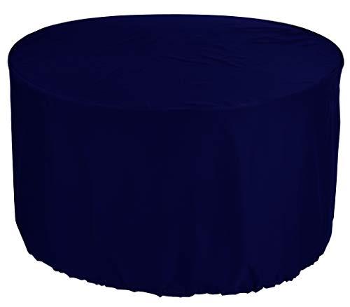 KaufPirat Premium Tarpaulin Round Diameter 140 x 80 cm Garden Furniture Garden Table Cover Protective Cover Outdoor Round Patio Table Cover Dark Blue