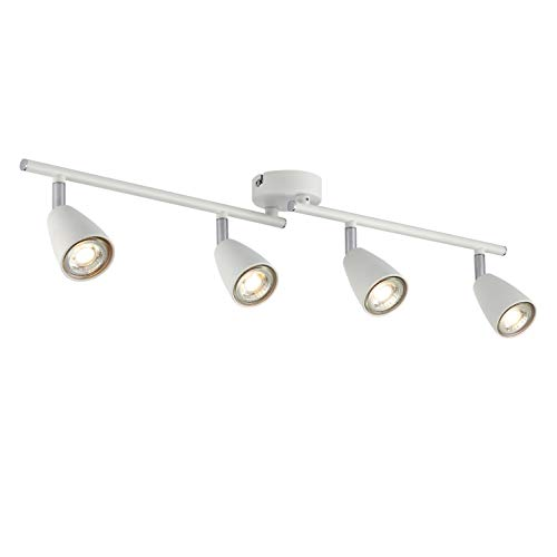 IMPTS - Lámpara de techo LED blanca I lámpara de salón I lámpara de techo I foco de techo I 4 focos, luz blanca cálida I foco ajustable I 1 x 3 W GU10 250 LM IP23 I cromo