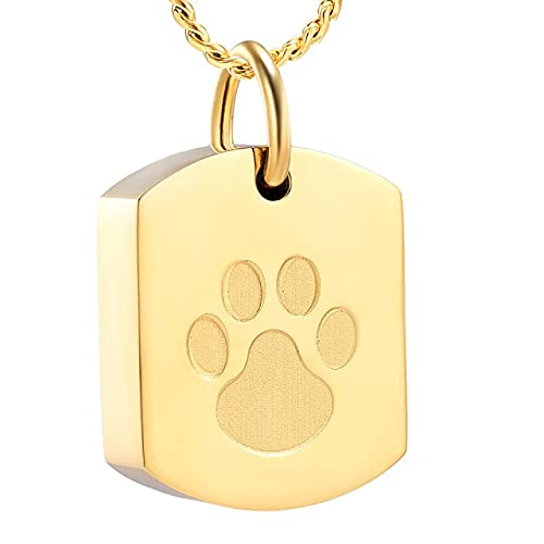 KBFDWEC Collar de urna de joyería de cremación para Cenizas para Mascotas, joyería de Ceniza Conmemorativa con Estampado de Pata, Colgante de Recuerdo para Cenizas de Perro, Gato y Mascota, Oro