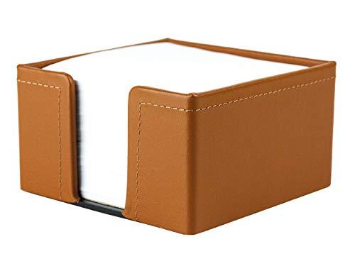 DELMON VARONE - Zettelkasten Premium Leder Boxcalf braun, Zettelbox inkl. 500 Blatt...