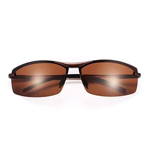 Gafas de sol polarizadas unisex para conducción para hombres y mujeres, con protección UV400 para exteriores, deportes, golf, ciclismo, correr, pesca, senderismo, esquí, ligero, color marrón