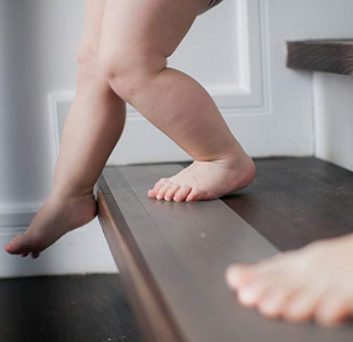 cocofy Anti Rutsch Treppe, 18x Streifen XXL (75x12 cm) transparent für Treppenstufen innen, Starker Halt dank Spezial-Textur, sockenfreundlich, incl. Montageroller [2020 Einführungsangebot]