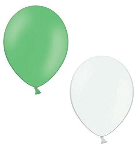 50 Luftballons je 25 grün & weiß Qualitätsballons 27 cm Ø (Standardgröße B85)