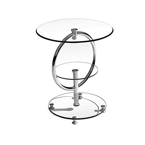 QULONG Runder Beistelltisch, Tisch Aus Gehärtetem Glas, 2 Kleine Stirnseiten, Modernes Design, Sofaecke, Kleiner Couchtisch, 50X57 cm