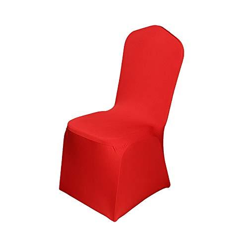 LKXZYX Stuhlabdeckungen für Esszimmer, Stuhlabdeckungen Solid Große Esszimmer Stuhl Protector Home Decor Connected Wedding Table Hotel Sitzplatz,Rot