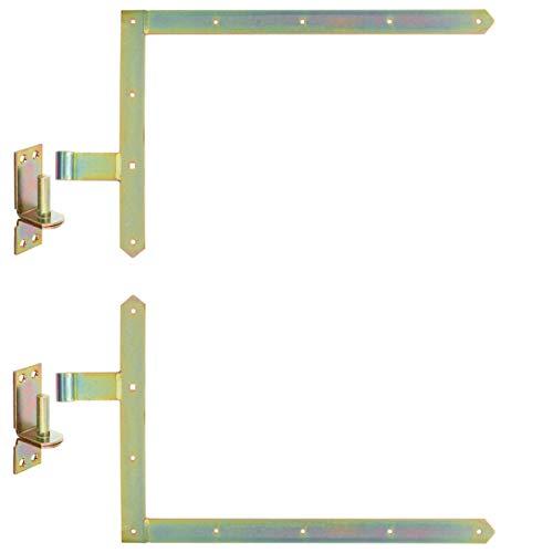 WITTKOWARE Tor-Winkelbänder-Set komplett mit Kloben, 60cm, Stahl, gelb verzinkt