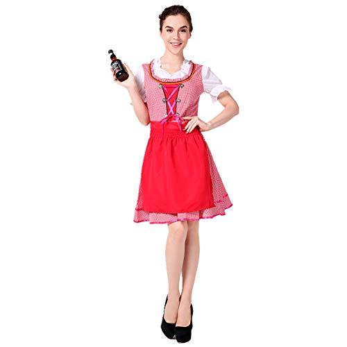 JMING Trachten Damen Dirndl Set - Midi Trachtenkleid Kurzarm Dirndlbluse Für Oktoberfest, Bierkleidung Bayerische Tracht Oktoberfest Mädchen Restaurant Arbeitskleidung (C,M)