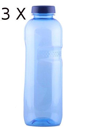 """3 * Trinkwasserflasche 1 Liter aus Tritan, mit """"Blüte des Lebens"""" - Symbol Aufdruck auf dem Trinkdeckel, Flasche gibt keine Schadstoffe ab (FDA Zulassung), und ist hervorragend geeignet um gefiltertes Wasser aufzubewahren; große Öffnung (4cm), spülma"""