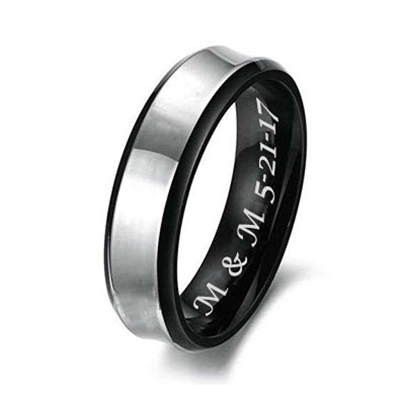Personalized Men's Couples Silver & Black Stainless Steel Ring Custom Engraved dc015832233