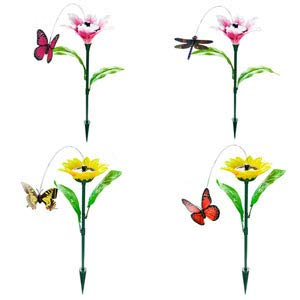 SoBuy EGS SET5 Lot de Libellule et Papillon tournants Danseurs solaires, décoration Jardin, Fleurs décoratives