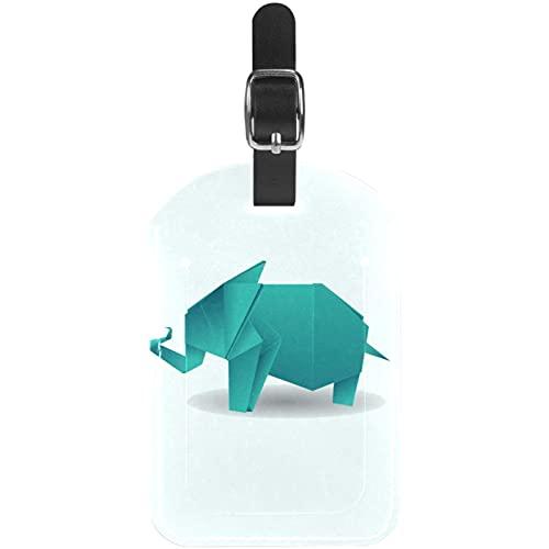 Elefante de Origami Verde Etiquetas para Equipaje niños Etiquetas Grandes de Cuero Etiquetas Iniciales Conjunto de Etiquetas para Maletas 7x11.4cm