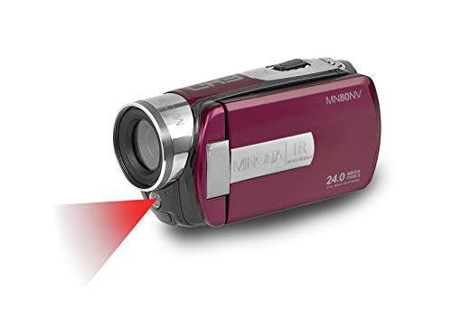Minolta 1080p Full HD 3' Touchscreen Camcorder with Nightvision & 16GB SD Card, MN80NV-M, Plum