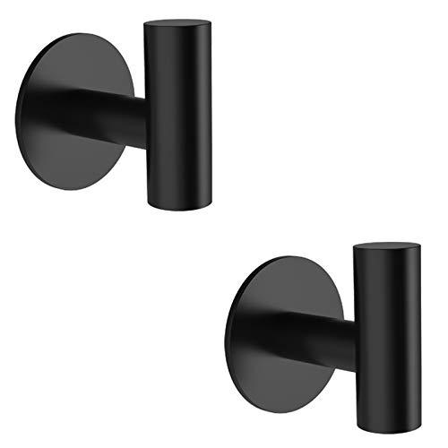 Ganchos Adhesivos, LYLIN Ganchos Adhesivos para Pared de Acero Inoxidable, Toalleros de Gancho para Baño, Cocina y Baño Max 7KG (Negro 2Pcs)