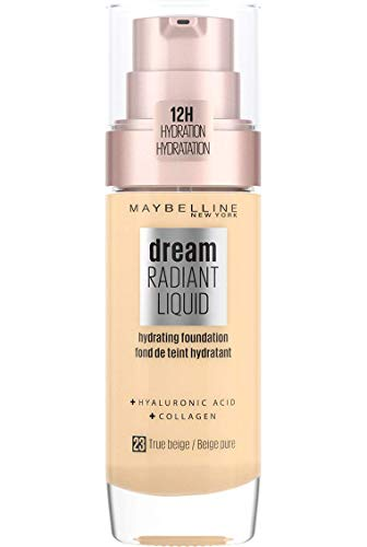 Maybelline Foundation Fond de Teint Hydratant Liquide Dream Radiant avec Acide Hyaluronique et Collagène - Couverture Légère et Moyenne jusqu'à 12 Heures d'hydratation, 23 True Beige