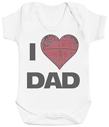 Zarlivia Clothing I Love Dad Cadeau bébé, Cadeau Bébé garçon, Cadeau Bébé Fille, Body Bébé garçon, Body Bébé Fille - 3-6 Mois Blanc