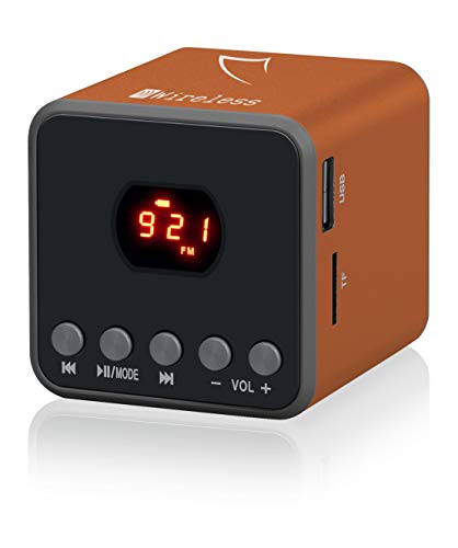 Sytech SYX1255BTNJ - Altavoz mini portátil con tecnología Bluetooth, color naranja
