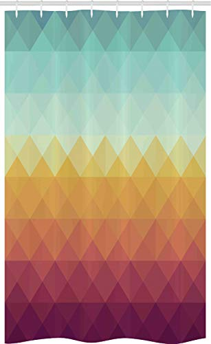 ABAKUHAUS Indie Schmaler Duschvorhang, Abstrakter Karierter Pastell, Badezimmer Deko Set aus Stoff mit Haken, 120 x 180 cm, Türkis Ringelblume Lila