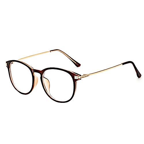 BOZEVON Gafas Falsas para Mujeres Hombres - Gafas de Sol Sin Receta Clásicas Ultraligeras Montura Gafas Vintage Lentes Transparentes para Mujeres y Hombres, Marrón B, No es luz azul