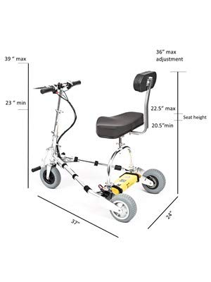 TravelScoot (35 lbs) World's Lightest Folding Electric Mobility Scooter for Adults (Wide Front Wheel and Fork)