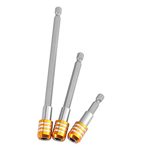 Akozon Soporte magnético para puntas Adaptador llave de vaso 3pcs 1 4pulgada Destornillador Gates Punta de barra magnética Extensión 60mm   100mm   150mm Vástago hexagonal(Amarillo)