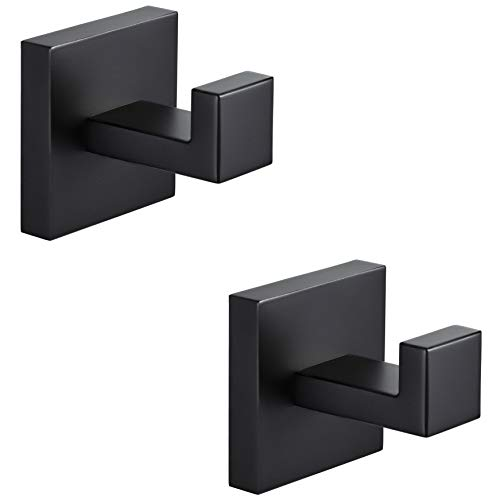 Bathroom Hooks YGIVO Towel RobeCoat Clothes Hook Matte Black SUS304 Stainless Steel Square Hanger Wall Hooks Heavy Duty for Bath Kitchen Bedroom Garage Hotel Wall Mounted 2 Pack