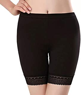 GLAMORAS® Women's/Girl's 4 Way Stretch Cotton Spandex High Waist Safety Pants/Cycling Shorts with Lace,Free Size