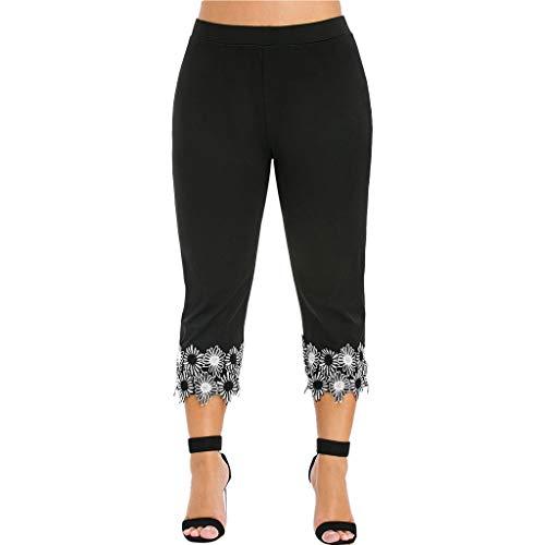 Auiyut Damen Sport Leggings Yoga Hosen 3/4 Länge Leggings Trainings Mittlere Taillen Laufende Hosen Große Größen mit Spitze Running Plus Size Yoga Leggings