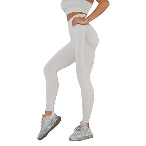 SUIYI Temporada de Verano Pantalones Yoga Mujeres Gris Claro Yoga Pantalon Elásticos Cintura Alta Yoga Mujer Pantalones para Mujer Pantalones De Trabajo De