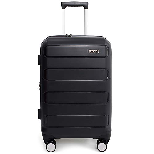 Eono by Amazon Expandable Hand Luggage Hard Shell Polypropylene Anti-Scratch Cabin Carry On with Spinner Wheels and Built-in TSA Lock, 55cm, Black