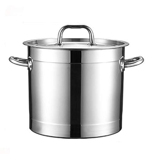 KAUTO Olla de Acero Inoxidable 201, Olla de Sopa Espesada para hostelería/hogar con Tapa, para Estufa de Gas/Cocina de inducción (13-40L) Olla común (tamaño: 20L)