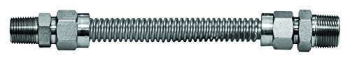 Flextron FTGC-SS12-60A 5/8-Inch OD Stainless Steel Gas Connector Kit with 60-Inch Hose and Fittings, 1/2 x 1/2-Inch by Flextron