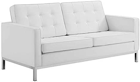 Sales ADHW Cheap mail order shopping Loveseat in White Button Tufting Metal Base Leathersoft